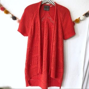 {Anthro Guinevere} Orange Knit Cardigan